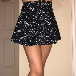 Space themed black high waisted skirt